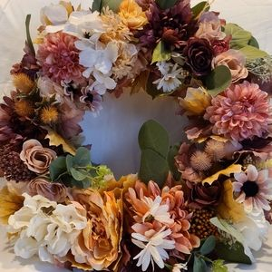 "Beautiful 14"" Fall Floral Wreath"